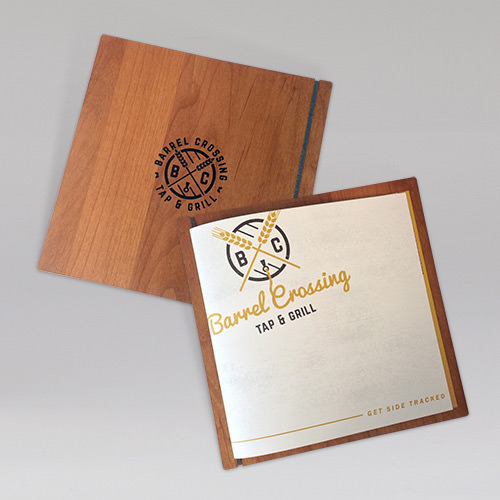 Wood Menu Board with Silk Screened Logo