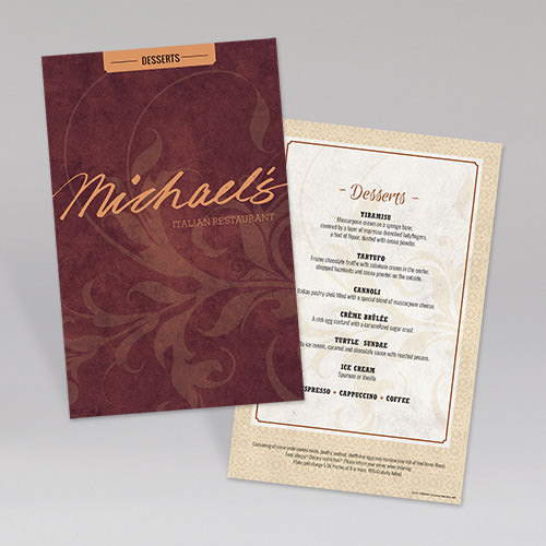 Michaels Dessert Menu