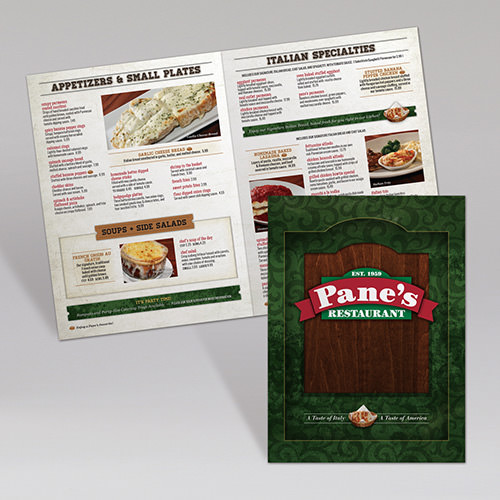 Pane's Dinner Menus