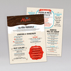Miguel's Mex Tex Cafe Gluten Free Laminated Synthetic Menu