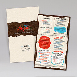 Miguel's Mex Tex Cafe Lunch Laminated Synthetic Menu