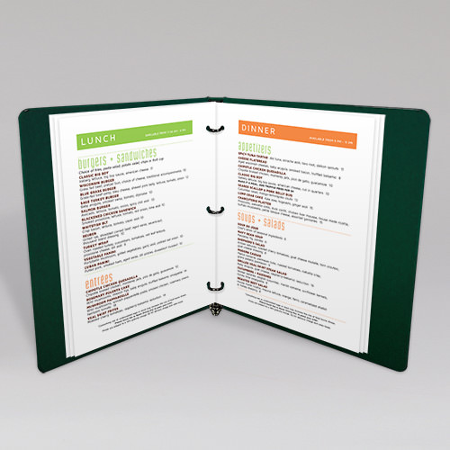 Printed In Room Menu Binder Inserts