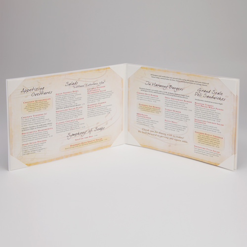 Printed Laminated Menu Cover with Panels - Inside
