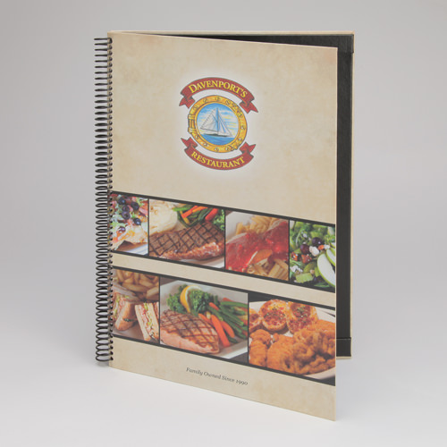 Printed Wrap Coil Bound Menu Cover with Plastic Pockets