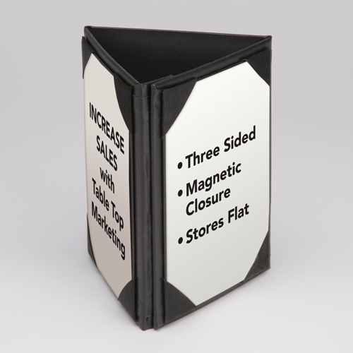 Three-Sided Table Stand - Magnetic Edge Closure & 3 Sided Table Tent | Table Top Menus | MenuMasters.net